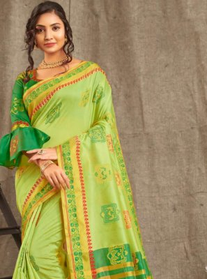 Cotton Weaving Green Trendy Saree