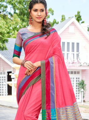 Cotton Weaving Trendy Saree in Multi Colour