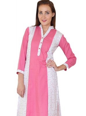 Cotton White Printed Designer Kurti