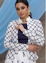 Cotton White Sequins Designer Lehenga Choli
