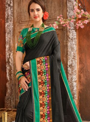 Cotton Woven Casual Saree in Black