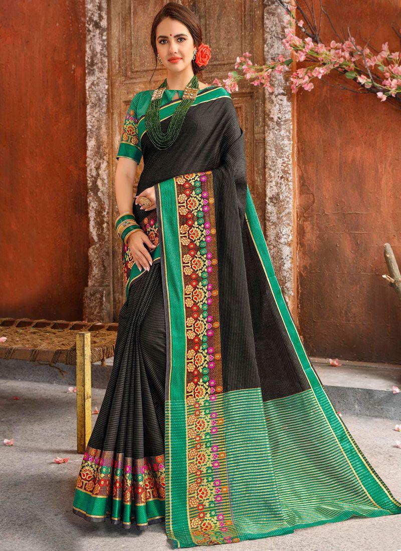 Cotton Woven Casual Saree in Black