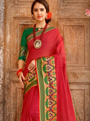 Cotton Woven Casual Saree in Red