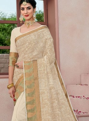 Cotton Woven Cream Classic Designer Saree