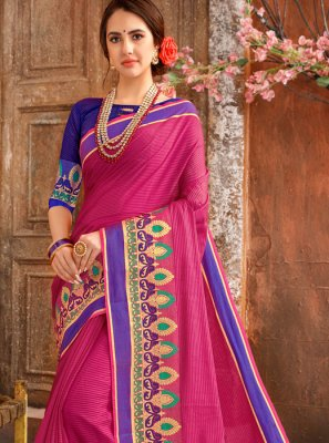 Cotton Woven Hot Pink Casual Saree