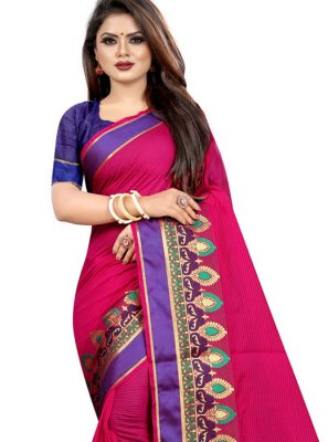 Cotton Woven Hot Pink Saree