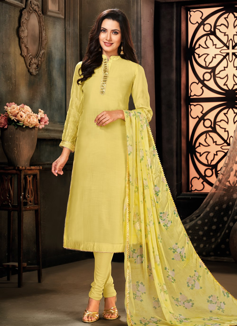 Cotton Yellow Designer Suit