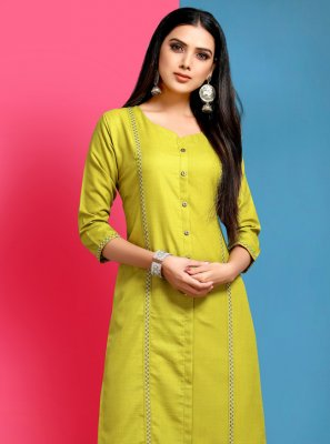 Cotton Yellow Embroidered Casual Kurti