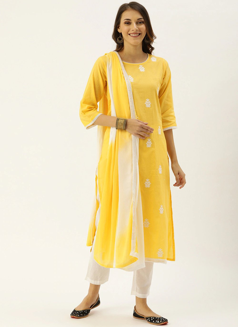 Cotton Yellow Embroidered Pant Style Suit