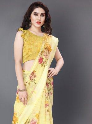 Cotton Yellow Floral Print Casual Saree