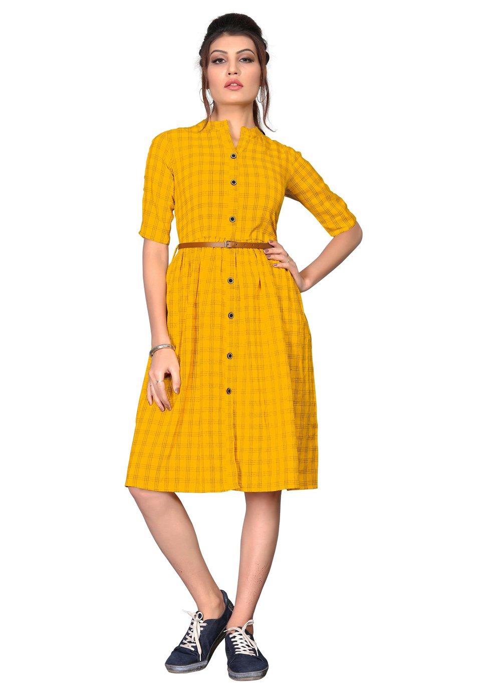 Cotton Yellow Party Wear Kurti