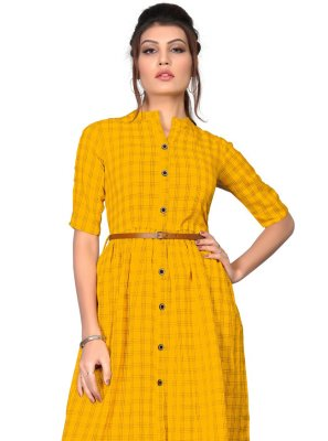 Cotton Yellow Party Wear Kurti