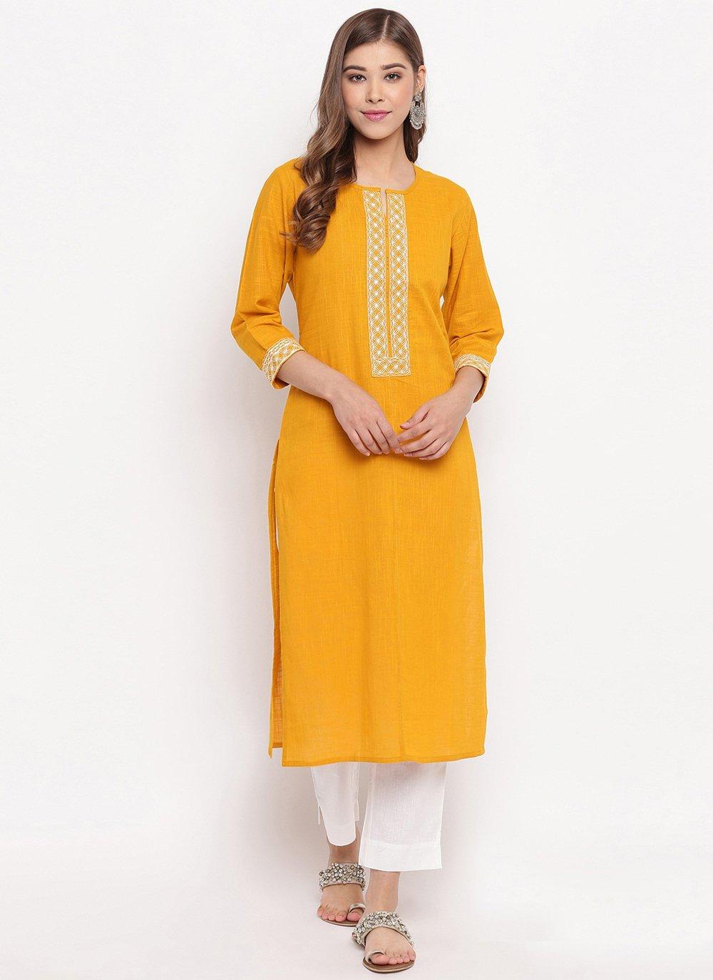 Cotton Yellow Plain Casual Kurti