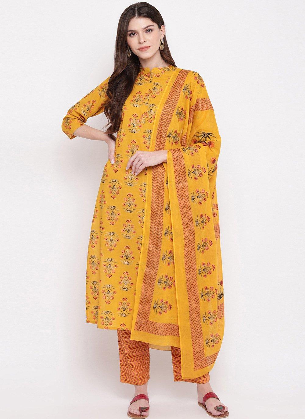 Cotton Yellow Printed Salwar Kameez
