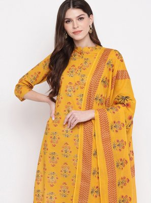 Cotton Yellow Printed Salwar Kameez