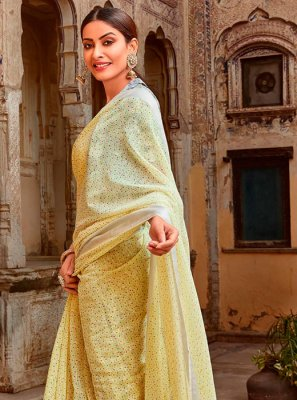 Cotton Yellow Printed Trendy Saree