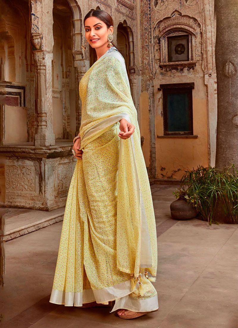 Cotton Yellow Printed Trendy Saree