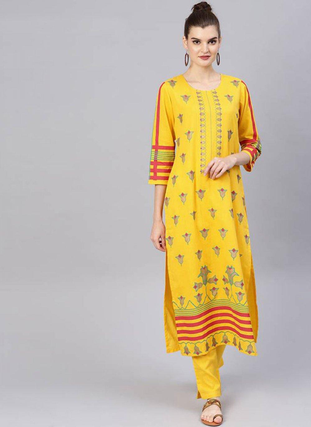 Cotton Yellow Salwar Suit