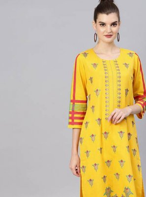 Cotton Yellow Salwar Suit