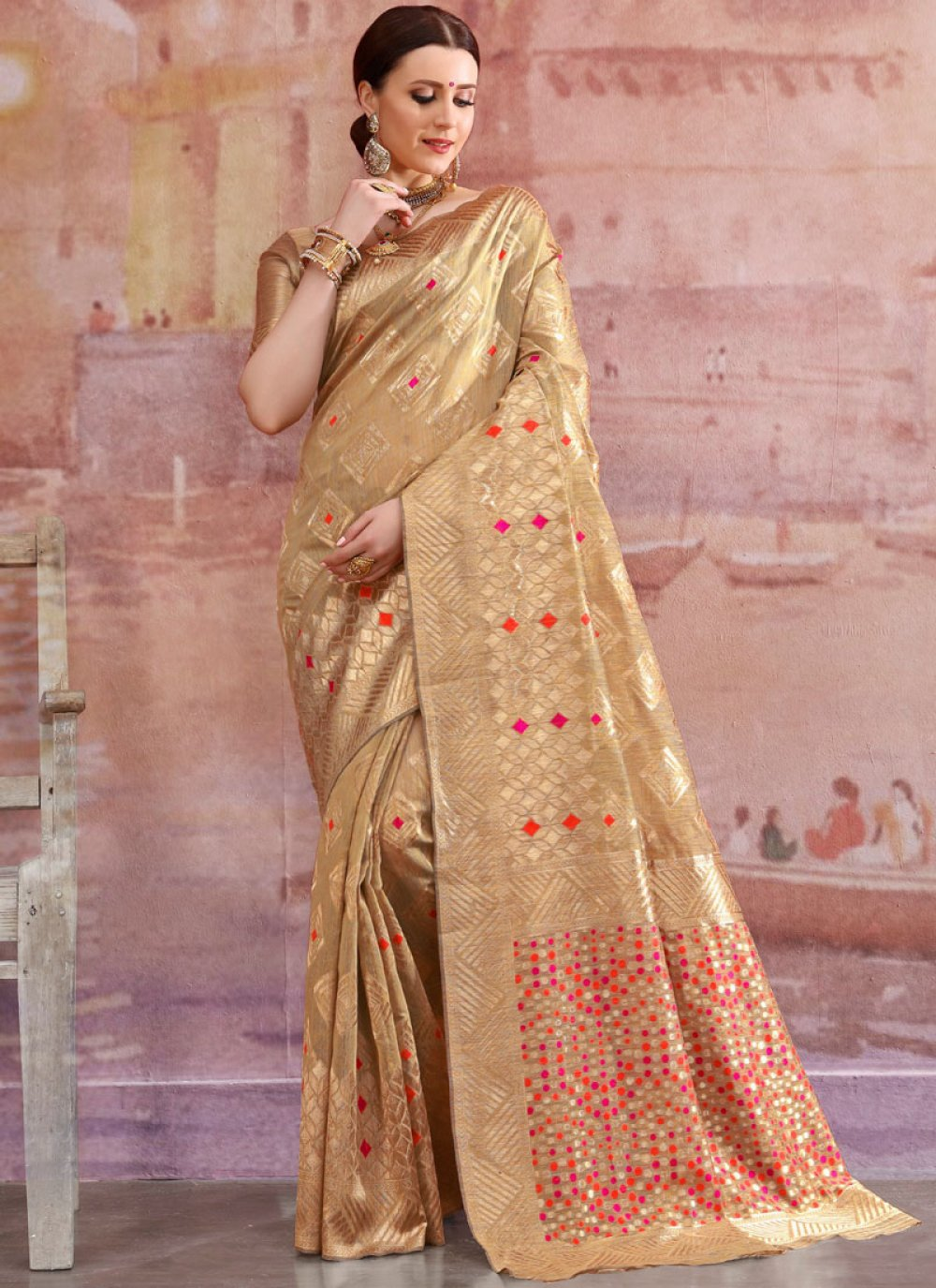 Cotton Zardosi Work Designer Traditional Saree