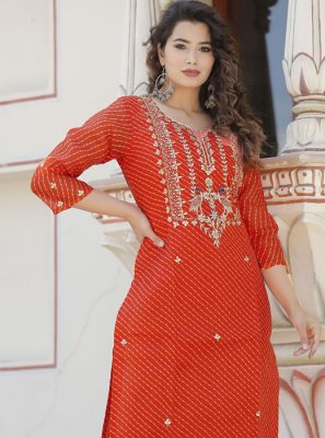 Cotton Zardosi Work Orange Casual Kurti