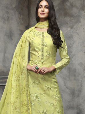 Cotton Zari Designer Pakistani Salwar Suit in Green