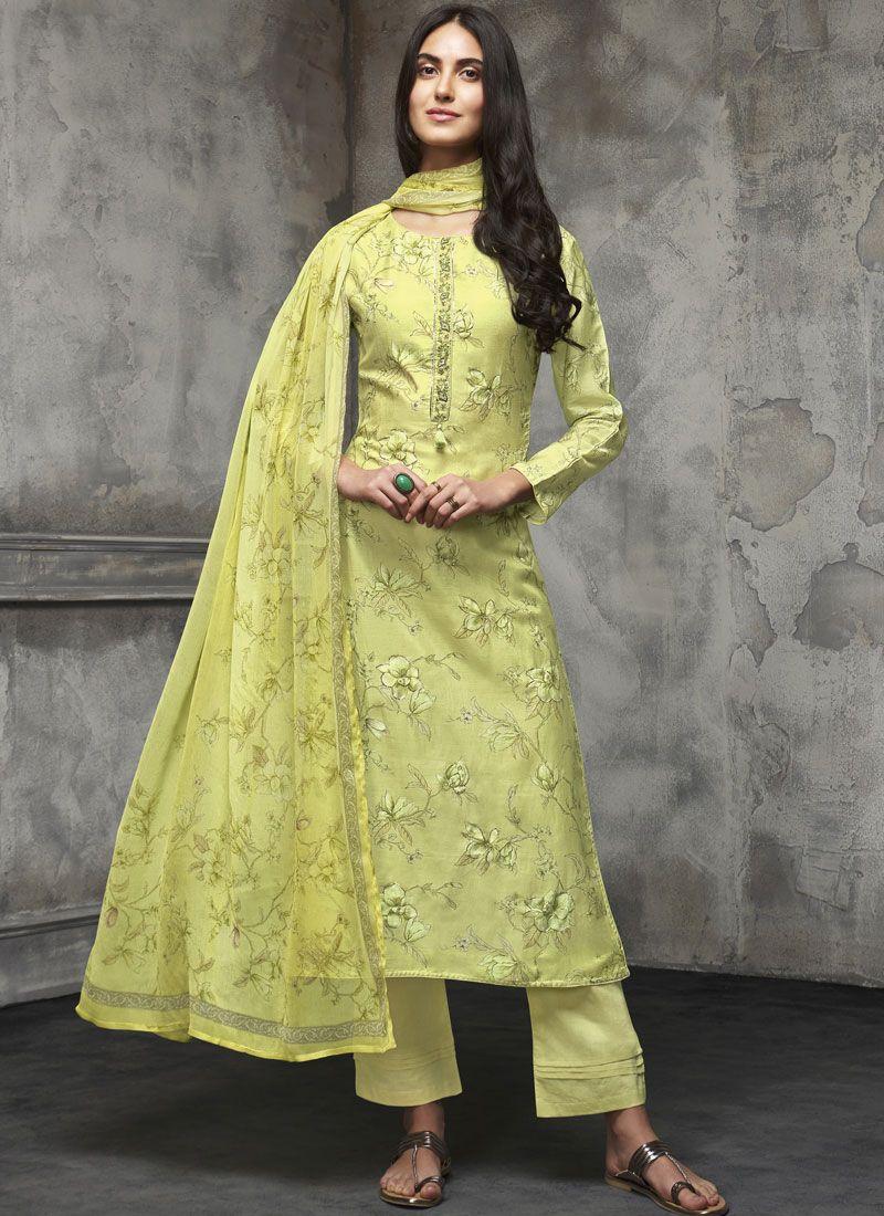 Cotton Zari Designer Pakistani Salwar Suit in Green