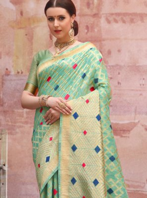 Cotton Zari Green Designer Traditional Saree