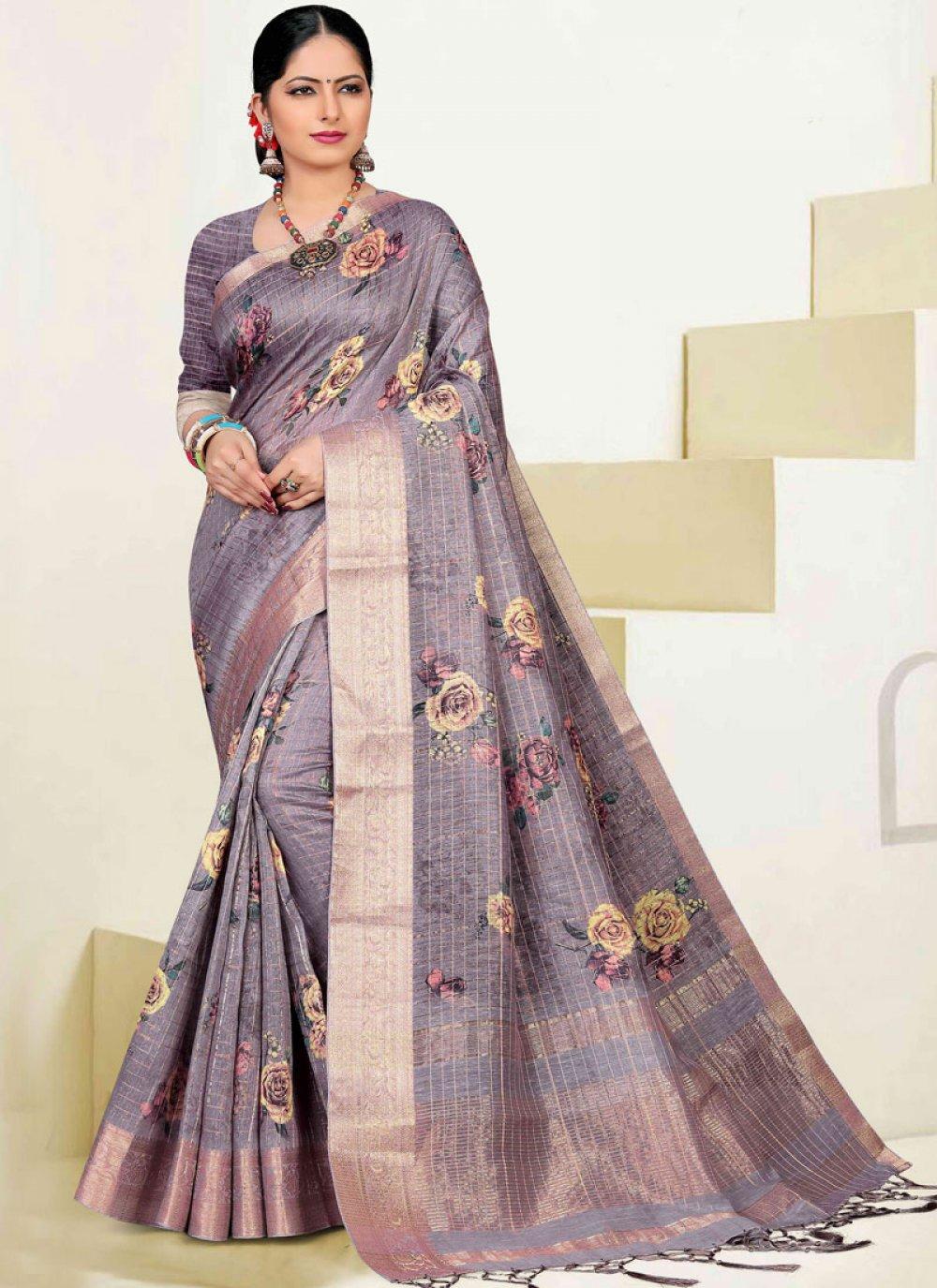 Cotton Zari Lavender Classic Designer Saree