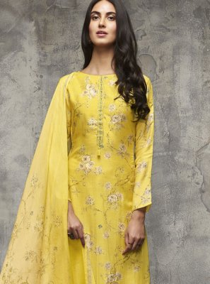 Cotton Zari Yellow Designer Pakistani Suit
