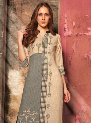 Cream and Grey Casual Rayon Party Wear Kurti