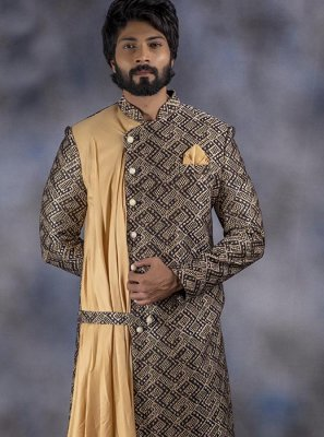 Cream and Multi Colour Embroidered Jacquard Indo Western