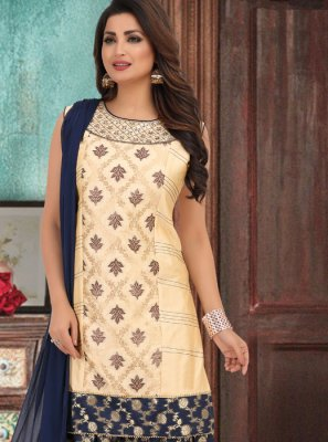 Cream and Navy Blue Mehndi Salwar Suit