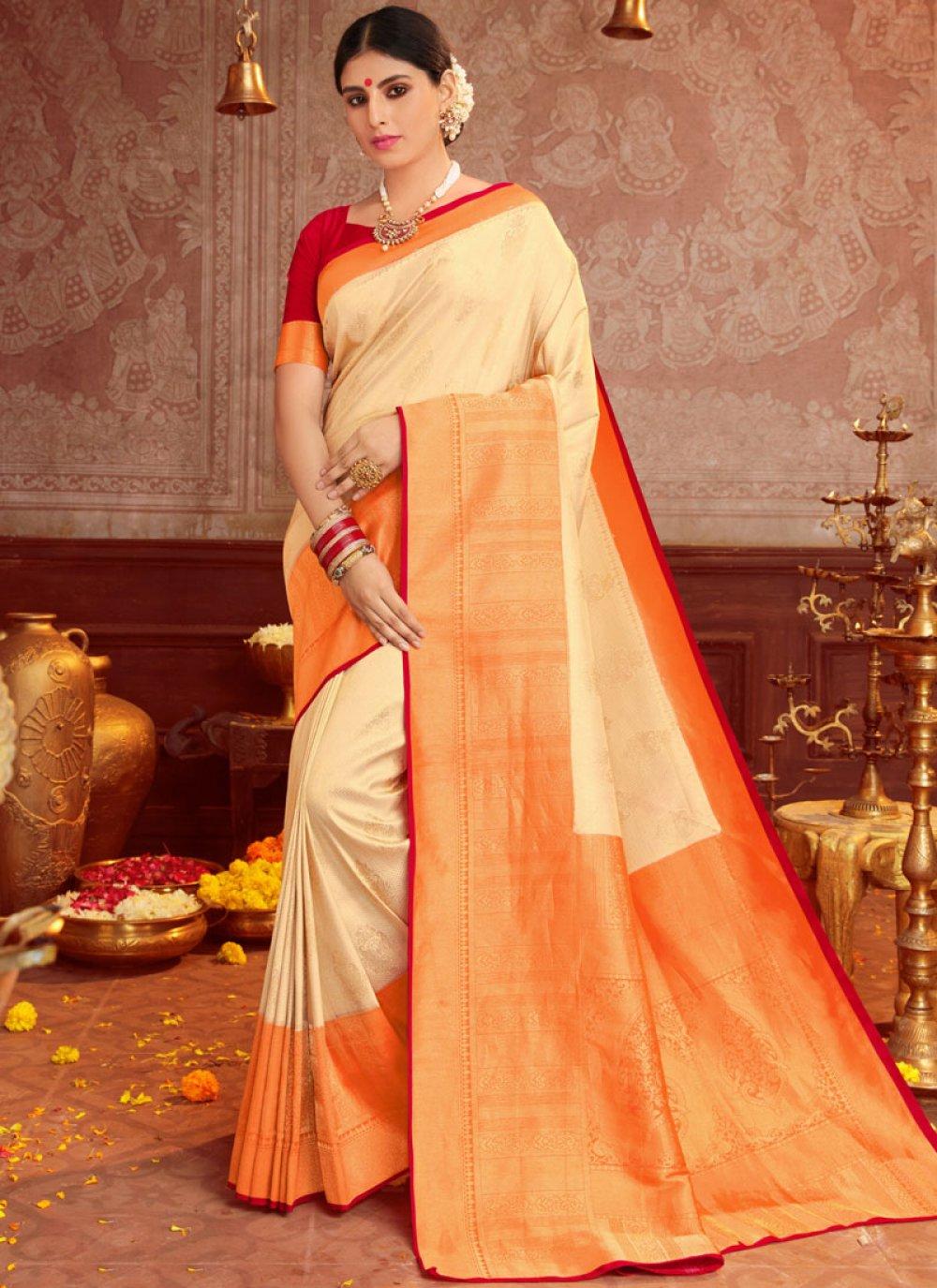 Cream and Orange Reception Traditional Saree