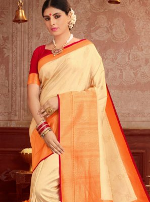 Cream and Orange Reception Traditional Saree