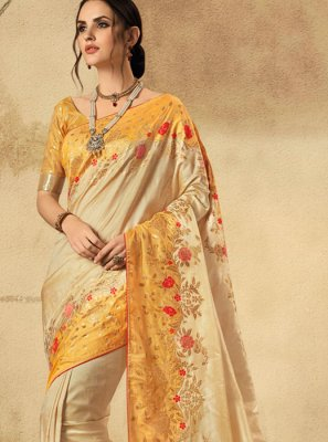 Cream and Orange Wedding Classic Designer Saree