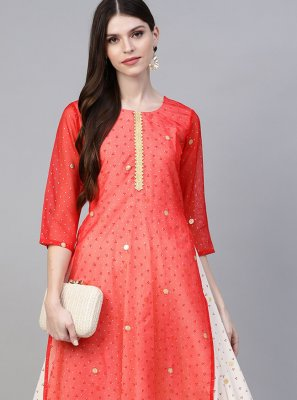 Cream and Peach Foil Print Faux Crepe Designer Kurti