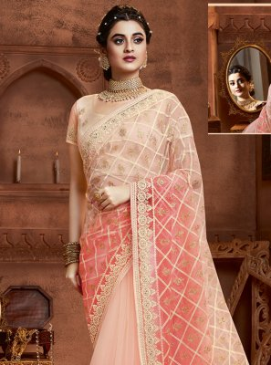 Cream and Peach Wedding Net Designer Saree