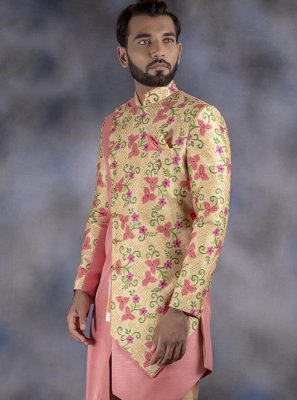 Cream and Pink Jacquard Mehndi Indo Western