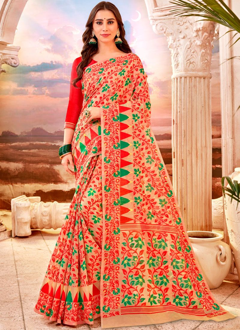 Cream and Red Cotton Party Classic Saree