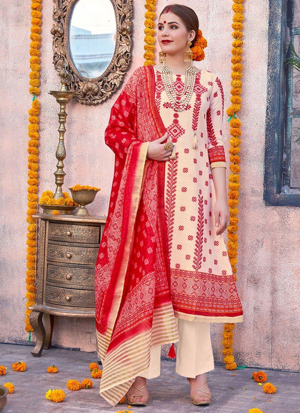 Cream and Red Digital Print Anarkali Salwar Kameez