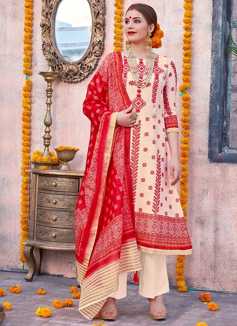Cream and Red Digital Print Anarkali Salwar Kameez