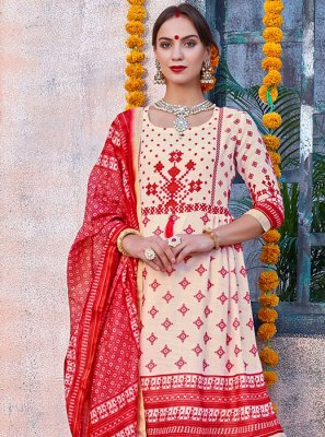 Cream and Red Digital Print Reception Churidar Salwar Kameez
