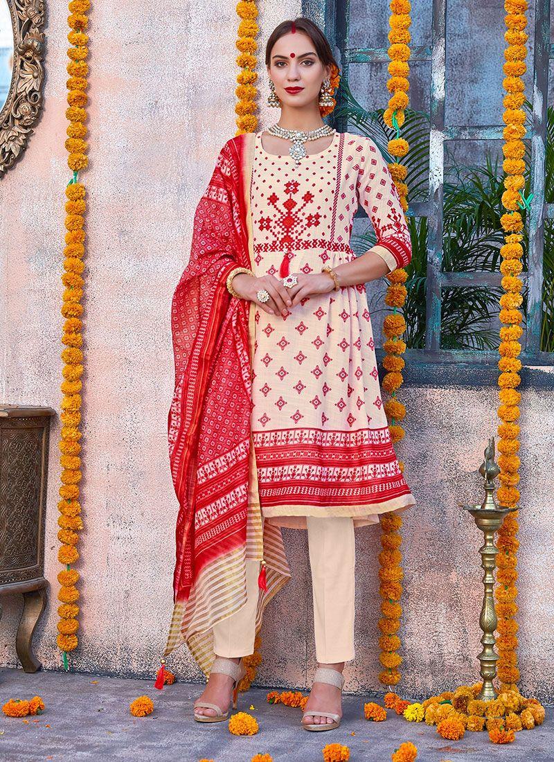 Cream and Red Digital Print Reception Churidar Salwar Kameez