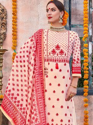 Cream and Red Digital Print Reception Designer Palazzo Salwar Kameez