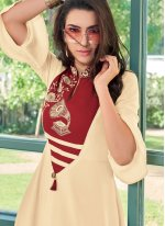 Cream and Red Rayon Embroidered Designer Kurti