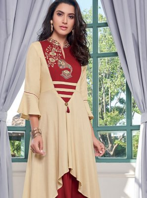 Cream and Red Rayon Embroidered Designer Kurti