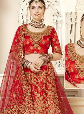 Cream and Red Silk Embroidered Lehenga Choli