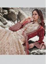 Cream and Red Silk Zari Anarkali Salwar Suit