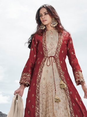 Cream and Red Silk Zari Anarkali Salwar Suit